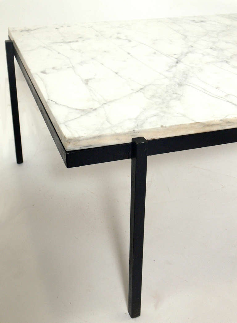 Clean Lined Modernist Marble And Iron Coffee Table At 1stdibs