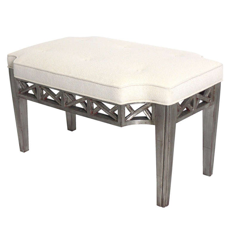 Silver Leaf Bench in the manner of James Mont For Sale