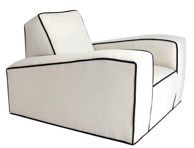Pair of low slung french art deco lounge chairs at stdibs