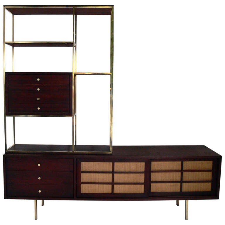 modern etagere and credenza in the manner of paul mccobb. Black Bedroom Furniture Sets. Home Design Ideas