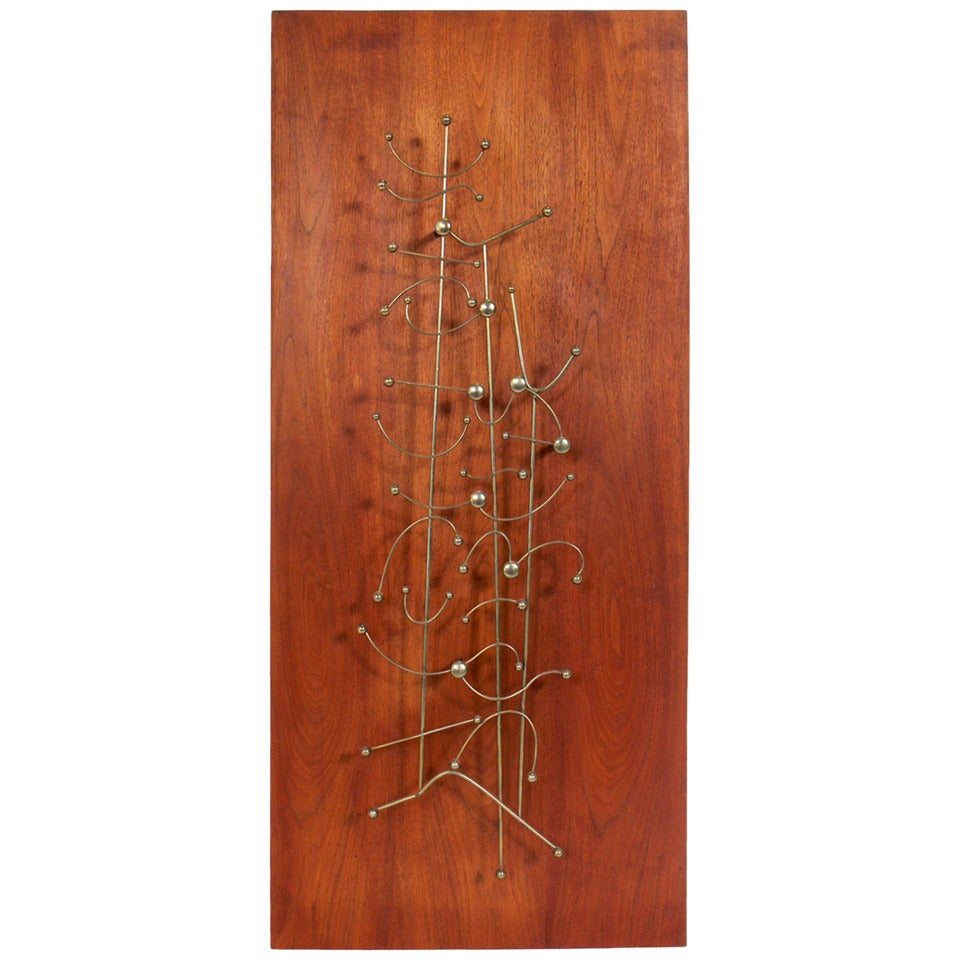 Abstract Wire Wall Sculpture on Walnut Mount