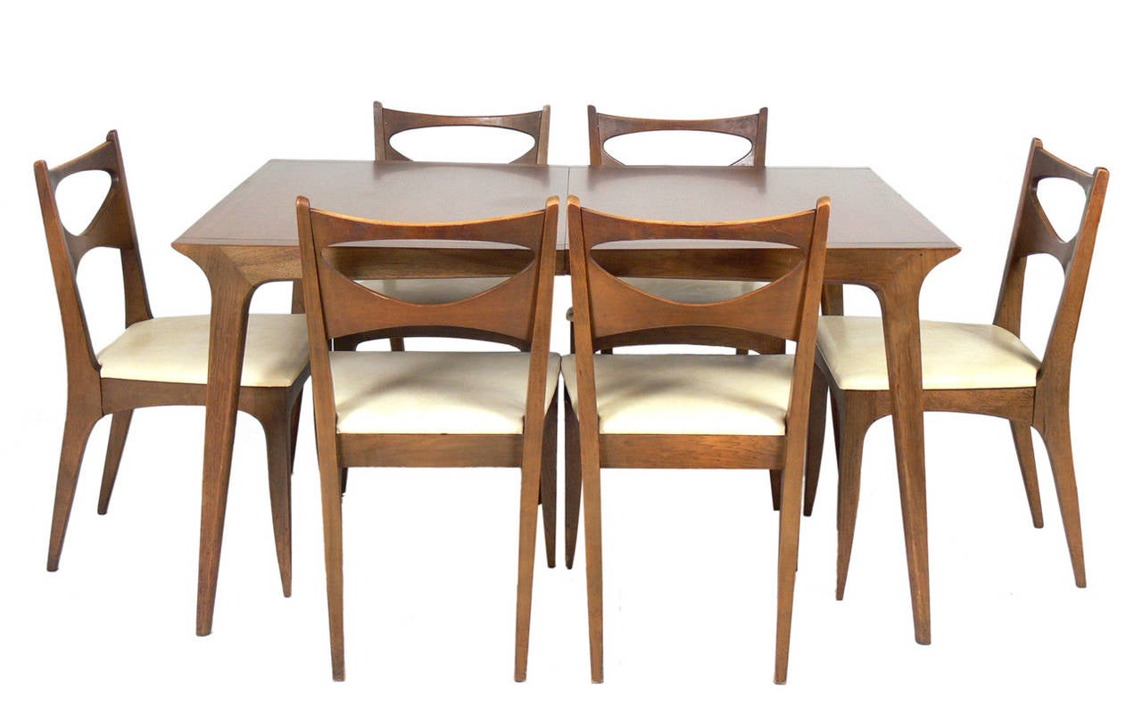 Set of six mid century modern dining chairs by john van for Six chair dining table set