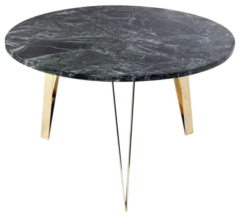 Italian Marble And Brass Coffee Table In The Manner Of Gio Ponti At 1stdibs