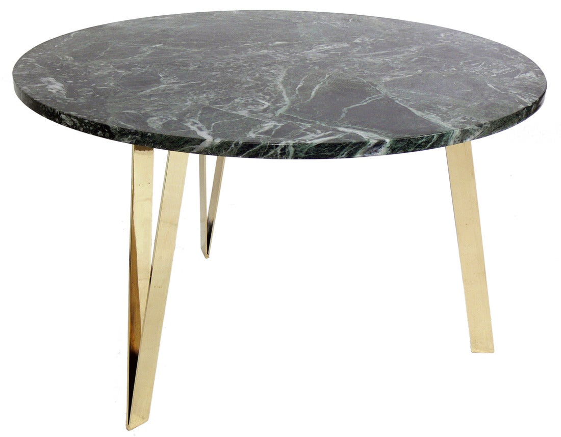 Italian Marble And Brass Coffee Table In The Manner Of Gio Ponti Image 4