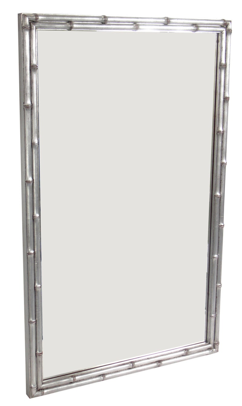 Silver Leaf Faux Bamboo Mirror At 1stdibs