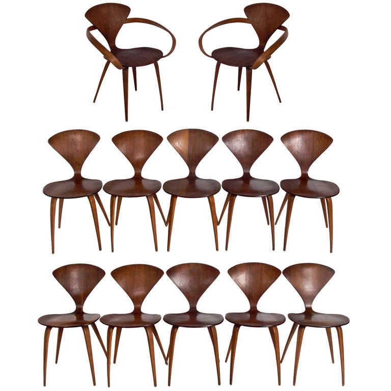 Set of 12 plycraft dining chairs designed by norman cherner at 1stdibs