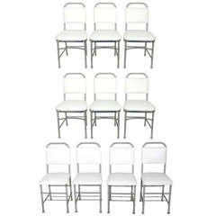 Set of Ten Aluminum Dining Chairs by Warren McArthur