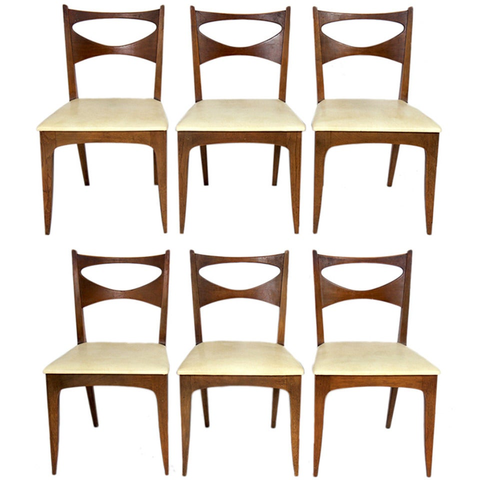 Mid Century Modern Dining: Set Of Six Mid Century Modern Dining Chairs By John Van