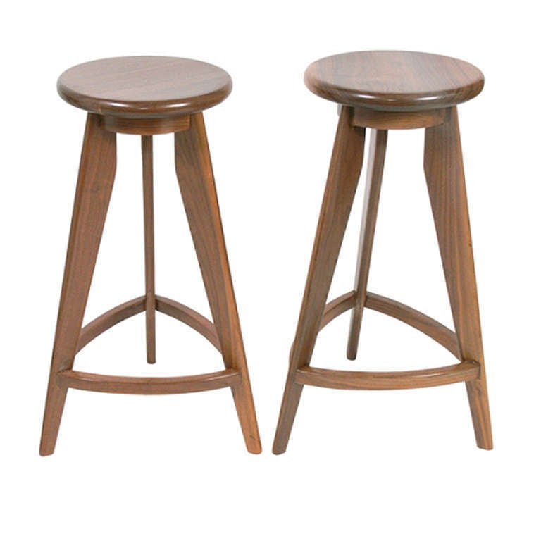 Pair Of Compass Leg Barstools In The Manner Of Jean Prouve