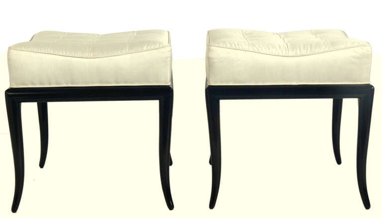 Pair of elegant modern stools, designed by T.H. Robsjohn-Gibbings for Widdicomb, circa 1950's. They have been completely restored in an ultra-deep brown lacquer finish and snow white silk.