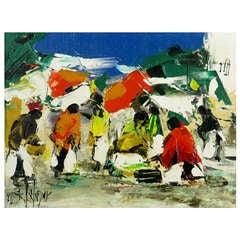 "Juan Salazar Colorful Oil On Canvas Titled ""Tranquis"""