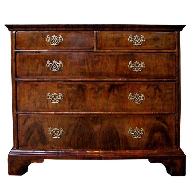 A Handsome English George II Walnut Veneered and Oak 5-Drawer Chest