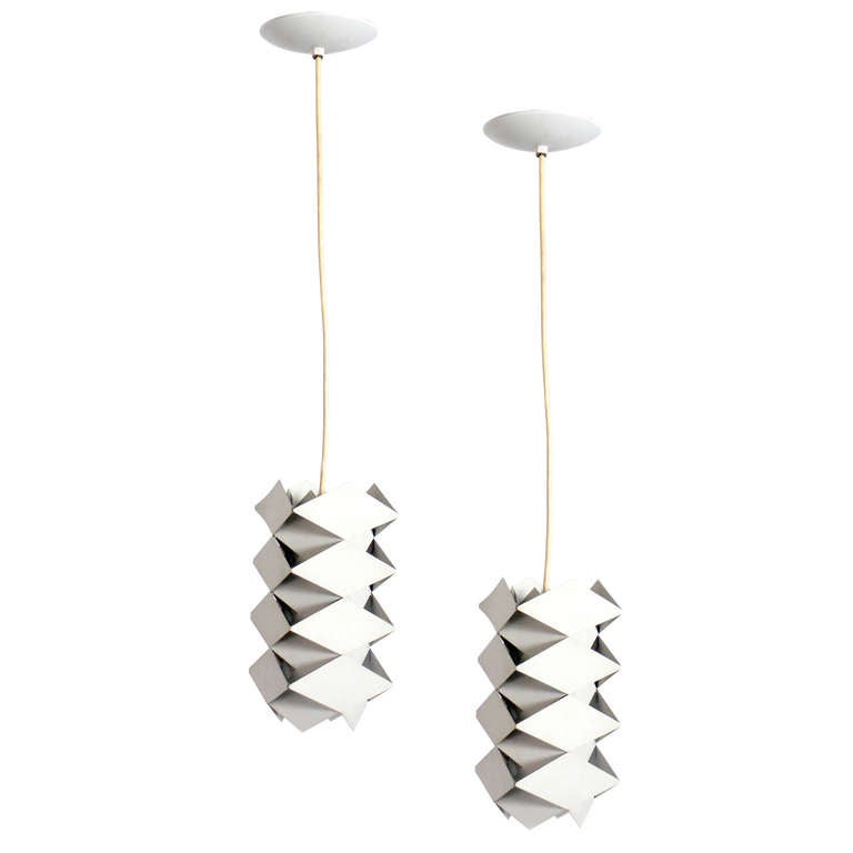 Pair of danish modern white pendant lights by preben dal at 1stdibs pair of danish modern white pendant lights by preben dal for sale aloadofball Image collections