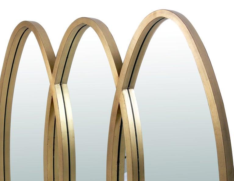 Modernist Oval Gold Leaf Triple Mirror At 1stdibs