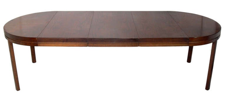 Clean Lined Midcentury Modern Walnut Dining Table Seats