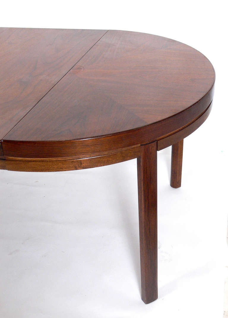 Clean lined midcentury modern walnut dining table seats for 12 people dining table