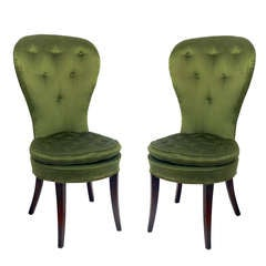 Pair Of 1940u0027s Balloon Back Chairs