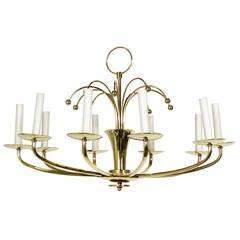 Modernist Brass Chandelier
