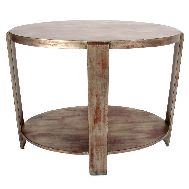 Silver Leaf Oval Console Table