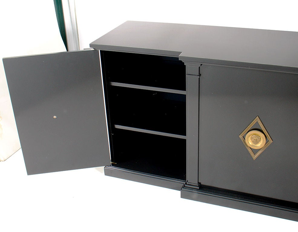 Black Lacquer Credenza With Bronze Dore Hardware At 1stdibs