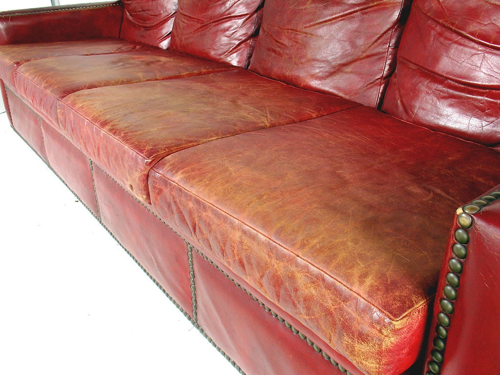 red leather recliner with nail heads