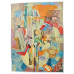 Large Scale Abstract Painting with Vibrant Colors
