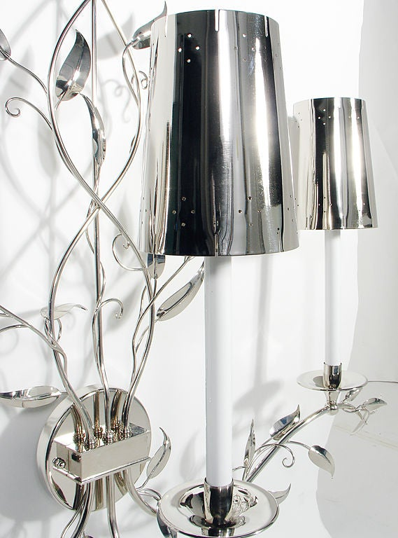 Pair of Glamorous Large Scale Nickel Sconces 1