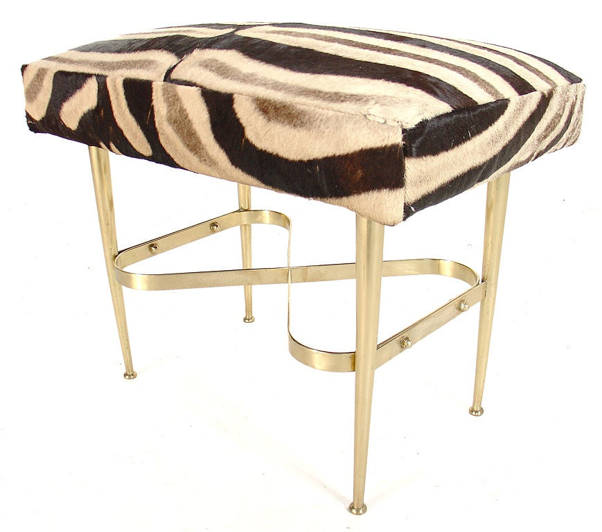 Modernist Italian Bench In Brass And Zebra Hide At 1stdibs
