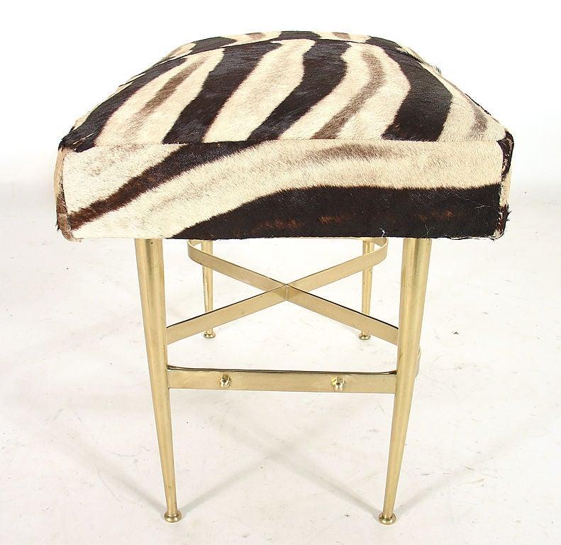 Modernist Italian Bench in Brass and Zebra Hide In Good Condition In Atlanta, GA