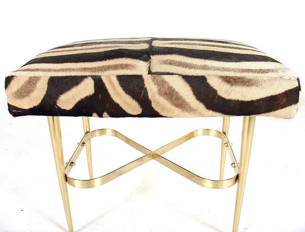 Mid-20th Century Modernist Italian Bench in Brass and Zebra Hide