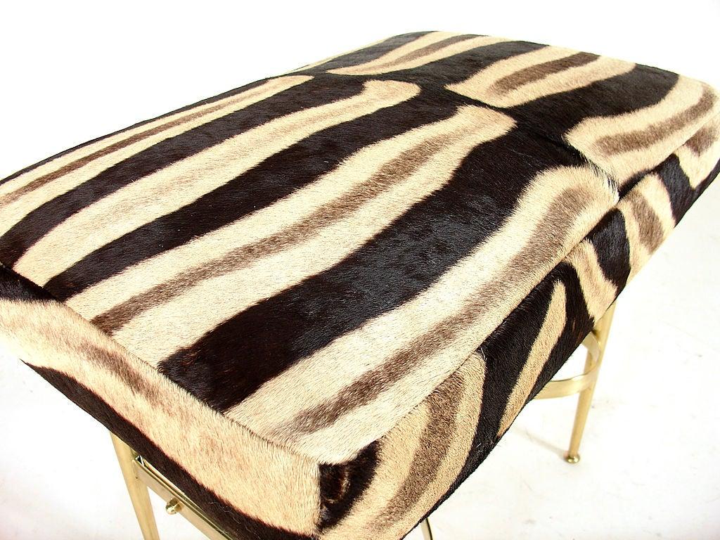 Modernist Italian Bench in Brass and Zebra Hide 2