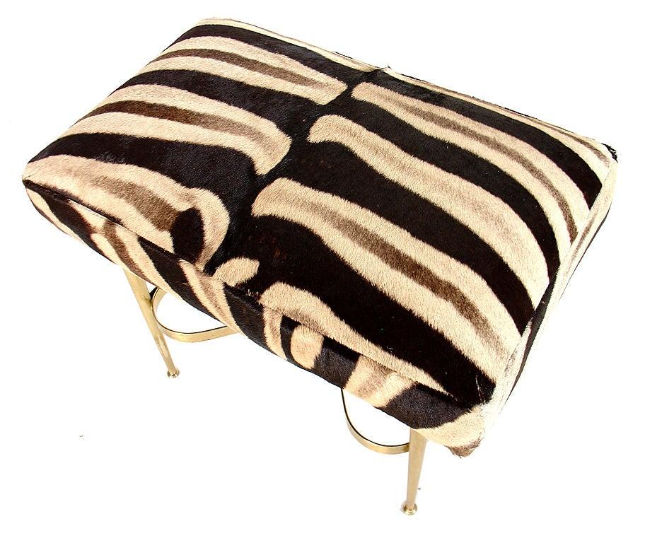 Modernist Italian Bench in Brass and Zebra Hide 3