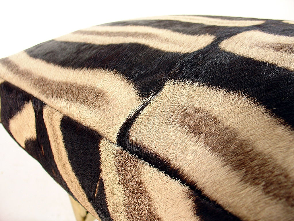 Modernist Italian Bench in Brass and Zebra Hide 4