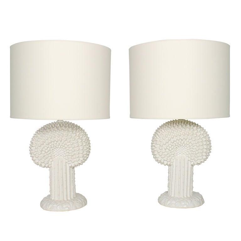 Pair of Sculptural White Ceramic Lamps
