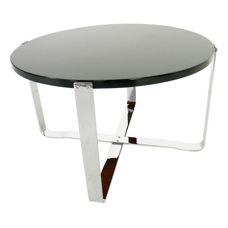 Deco Chrome Coffee Table: Art Deco Chrome Strap Coffee Table At 1stdibs