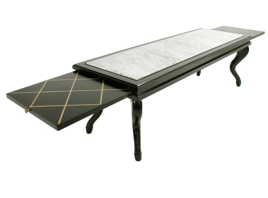 Elegant 1940 39 S Coffee Table With Slide Out Brass Inlaid Trays At 1stdibs