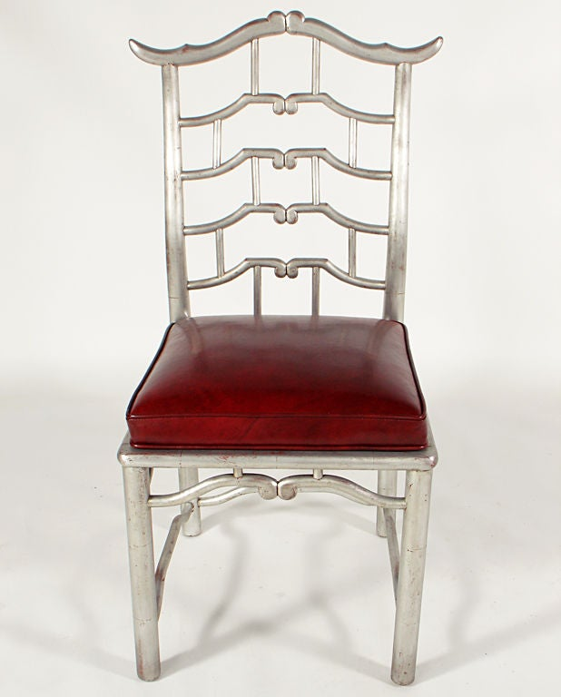 American Pair of Tall Silver Leaf Asian Fretwork Accent Chairs For Sale