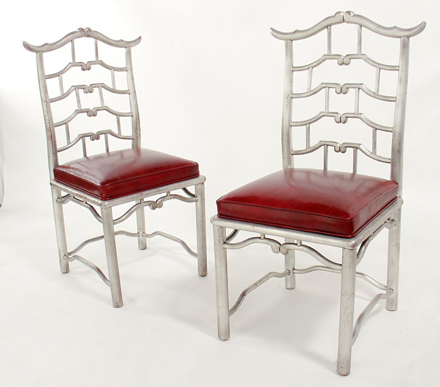 Pair of Tall Silver Leaf Asian Fretwork Accent Chairs In Good Condition For Sale In Atlanta, GA