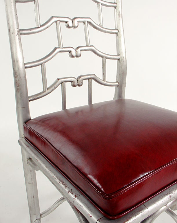 Pair of Tall Silver Leaf Asian Fretwork Accent Chairs For Sale 1