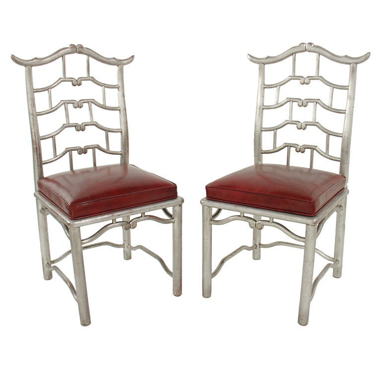 Pair of Tall Silver Leaf Asian Fretwork Accent Chairs For Sale