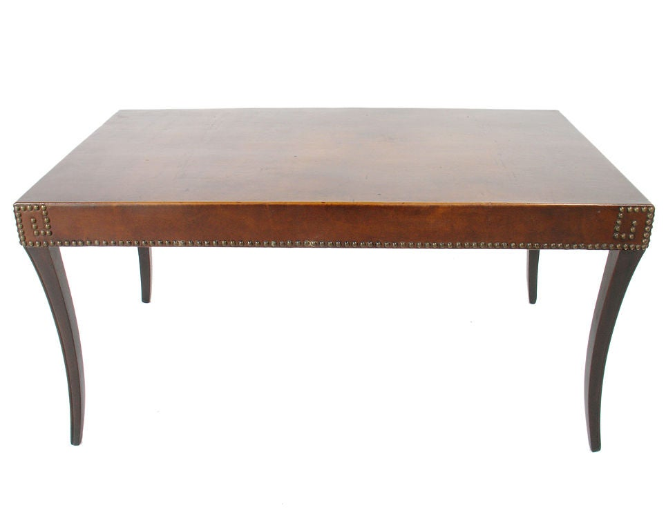 1940 39 S Leather Coffee Table With Brass Nailhead Greek Key Trim At 1stdibs
