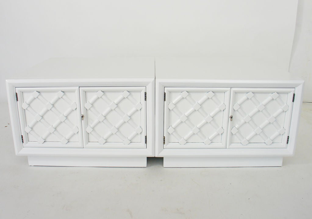 Pair of White Lacquered Lattice Front Night Stands or End Tables 4