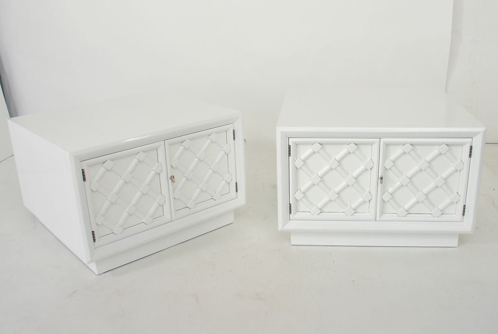 Pair of White Lacquered Lattice Front Night Stands or End Tables 5