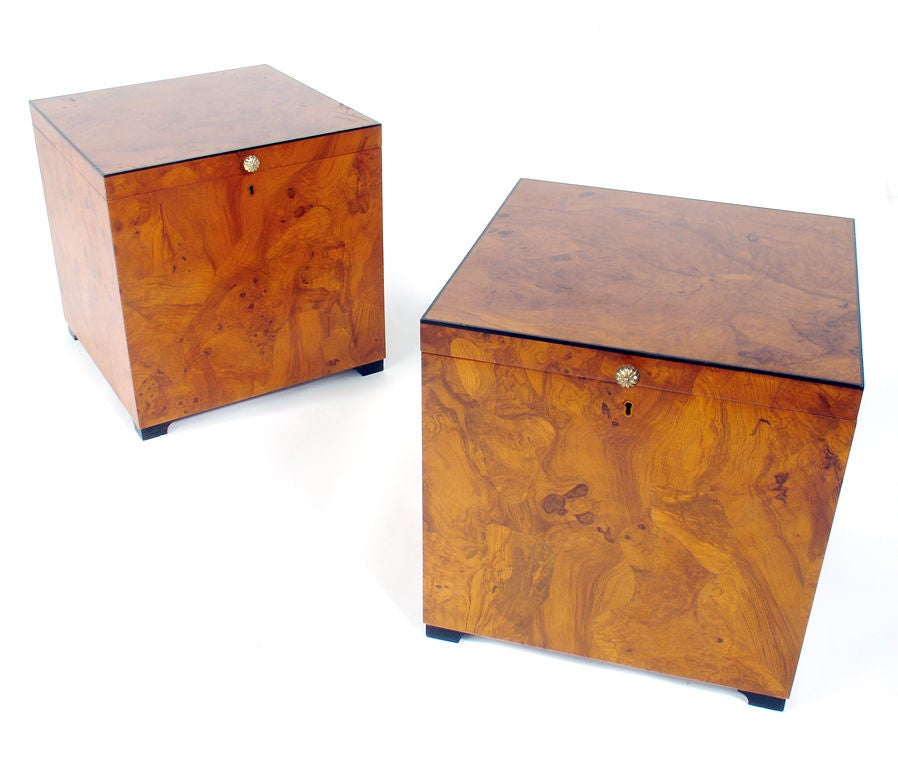 Pair Of Italian Olive Burl Cube Tables Open For Storage