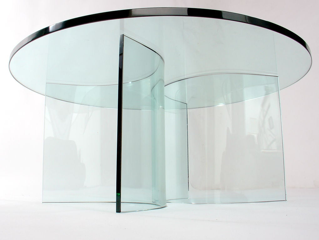 Sculptural glass coffee table base at 1stdibs Glass coffee table base