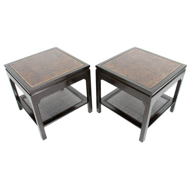 Pair of Kittinger Tables with Faux Tortoise Leather Tops