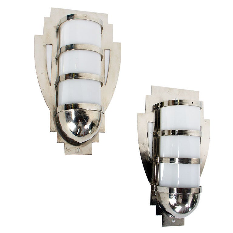 Pair of Nickel Plated Art Deco Sconces