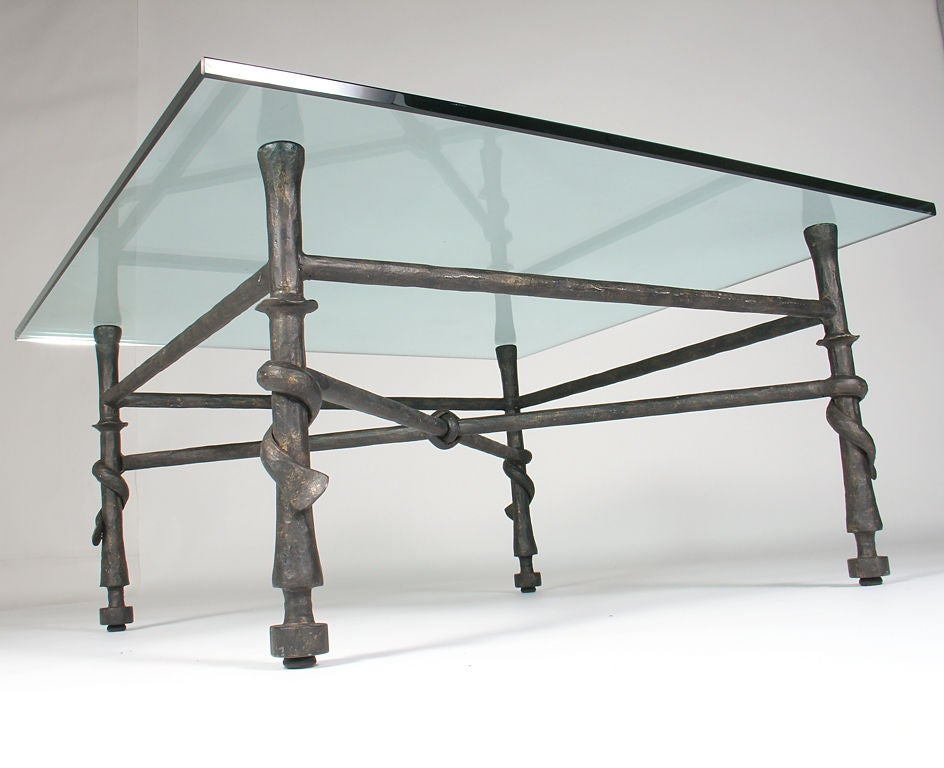 Sculptural Wrought Iron Coffee Table In The Manner Of Giacometti At 1stdibs