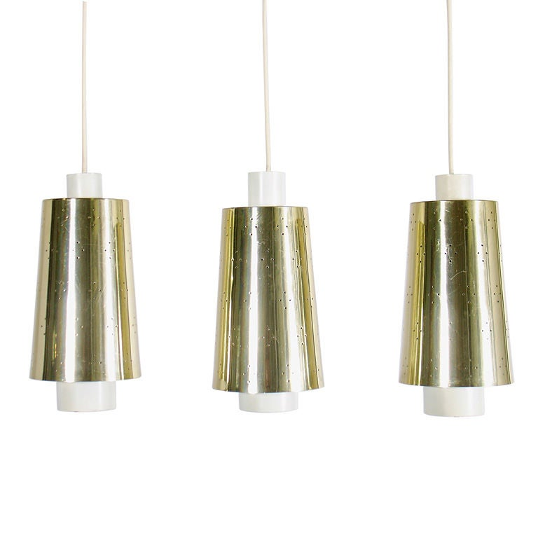 Modern pendant light fixtures in brass and white enamel at for Brass kitchen light fixtures