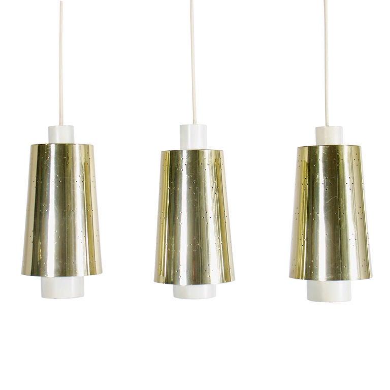 Modern pendant light fixtures in brass and white enamel at 1stdibs